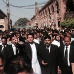 Massive support of @mubasherlucman in lawyers at LHC. civil society also came 2show solidarity. #WeWantKharaSach http://t.co/nuf558qLY7
