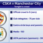 RT @SkySportsNewsHQ: Man City play CSKA Moscow behind closed doors tonight in Russia. Here is how the small crowd will be made up #SSNHQ http://t.co/uPHynL4pzU