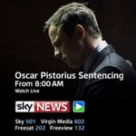 #PistoriusTrial - Special programme from 8am - judge to deliver sentence from 8.30am - live on @skynews http://t.co/BCz51adY89
