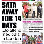 If The Post front page is right - then isnt President Sata going to miss Zambias Jubilee celebrations?? http://t.co/kK07rYxHyz