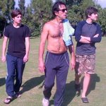 RT @ZubairSabirPTI: Imran khan sb in excercise mode with sons @sulaimankhanpti and qasim khan http://t.co/p7T9pa2iOz