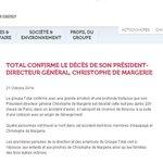 RT @quentinperinel: Le patron de @Total Christophe de Margerie est mort dans le crash de son jet en Russie. http://t.co/qd1kvO9KjY http://t.co/9kTyD5rfdS