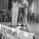 """Heres #GoughWhitlam delivering the """"Its Time"""" election policy speech at the Blacktown Civic Centre in Nov. 1972. http://t.co/CJYp0nNWvB"""