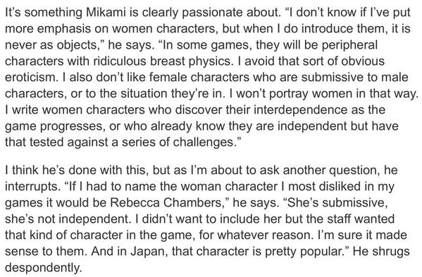 Resident Evil creator Shinji Mikami on his approach to female characters in videogames: http://t.co/fwB86kY27Y http://t.co/abWSi3JaiS
