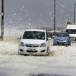 Foam from a rough sea is covering the coastal road in Cleveleys near Blackpool. Jo #HurricaneGonzalo http://t.co/7hvP1KLf92