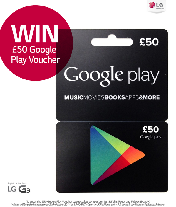 You could WIN £50 of @GooglePlay credit to spend on whatever you like! Just RT & FOLLOW @LGUK to enter now! #LGG3 http://t.co/sWORWtM9oa