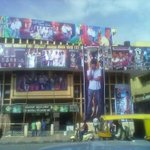 This is Bangalore Natraj theater today afternoon .... Still a cut out & flowers decoration is left over #kaththi http://t.co/kgoHnA3vYp