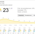 21/10/2014 - 08:38AM: Clima de la ciudad de #Caracas: cielo parcialmente nuboso http://t.co/cynUtS1vuq