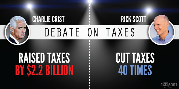 .@CharlieCrist increased your taxes. Rick Scott cut them 40 times. Learn more here: http://t.co/phU7ZUvNf6 #FLDebate http://t.co/3ihxja14tn