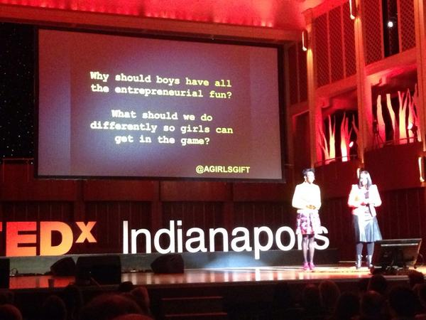 At #tedxind DeShong Perry-Smitherman and Ericka Gibson at @agirlsgift on helping girls start businesses. http://t.co/lCTLnvhNHL