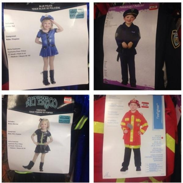 Girls VS boys police and fire fighter costumes. What is wrong with this picture (and this culture)?  . http://t.co/Pwhc18POna