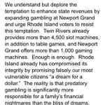 RT @IanDon: RI Council of Churches urges voters to reject expansion of gambling at Newport Grand http://t.co/xUcDXkOMw8