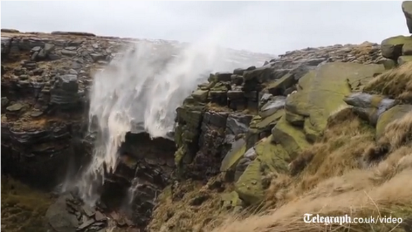 """Derbyshire waterfall blown backwards by winds. Watch: http://t.co/NUf8BznMq8 http://t.co/OS7Mu1Af8i"""" Glad I left my bike indoors today."""