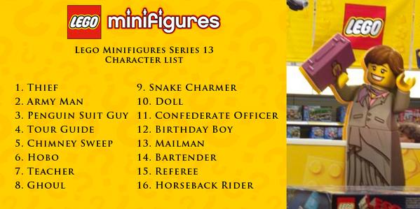レゴのミニフィグ(人形)新シリーズ。1番の「泥棒」ってもうおかしいだろ。「ペンギンスーツ男」「煙突掃除人」「ホーボー(≒ホームレス)」「食屍鬼」「蛇使い」「人形」「誕生日の男の子」って、奇矯すぎ。「アメリカ南軍士官」が普通に見える。http://t.co/5ATyvBqNlQ