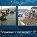 #ReporteEnVivo Continúan trabajos en puente Cuauhtémoc por hundimiento. Solo esta habilitado un carril http://t.co/SKPaoYC8uU