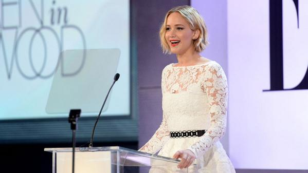 Jennifer Lawrence wore an homage to Oscar de la Renta at an Elle Magazine event last night: