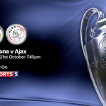 Stick with us on Sky Sports 5 or on Sky Go. Barcelona vs Ajax coming up: http://t.co/22b8J3HtxR http://t.co/vreQjBVl4H