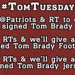 RT @Patriots: #TomTuesday! Follow us & RT to enter to win a signed Brady photo. More RTs=More prizes Rules http://t.co/47O8LefGd2 http://t.co/fGeTtCPiG9