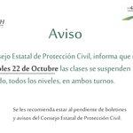 RT @Cobachcampeche: Mañana miércoles 22 de Octubre las clases se suspenden en todo el estado, todos los niveles, en ambos turnos. http://t.co/TL71JWv28P