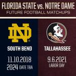 RT @FSU_Football: #ACC announced @NDFootball vs. ACC future dates today. #Noles host Irish in 2021, travel there in 2018, 2024. http://t.co/v917hVbpOc