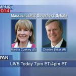 RT @cspan: #MAGov Debate: @marthacoakley & @CharlieForGov – LIVE at 7pm ET on C-SPAN http://t.co/6n2JAP3sfC http://t.co/5B2GEj25Do