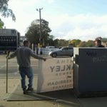 T-3 hours before the debate, some intrepid @marthacoakley supporters set up shop. #MAGov14 http://t.co/zAFN3N5f67