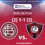 #CopaTOTALSudamericana l Entretiempo: ¡#Cerro (@ccp1912oficial) sigue arriba en el marcador global! #VamosCerro!!! http://t.co/RhUl1xNpnX