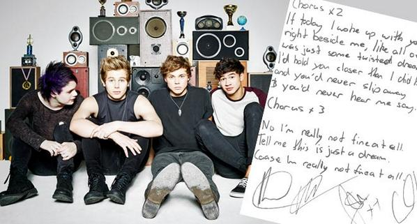 These SIGNED handwritten #Amnesia lyrics from @5SOS could be yours! Enter for a chance to win: http://t.co/P85UZxwYdM http://t.co/VvXT9TnmwV