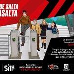 ¡Recuerda! La evasión del pago al transporte público es igual a robar. #ElQueSaltaTeAsalta @BogotaHumanaYA http://t.co/buM4VrGw21