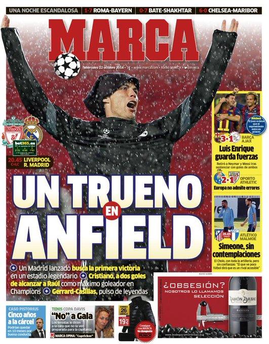 RT @marca: #LaPortada 'Un trueno en Anfield' http://t.co/squTNEX2uK