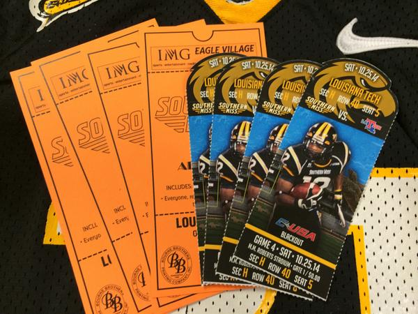 Are you a Golden Eagle? RT to win tickets & VIP passes to @SouthernMissFB vs. LA Tech on 10/25 & a USM Jersey. #SMTTT http://t.co/XREneTNdoE