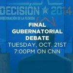 Final Debate started on CNN! #FLGovDebate @MDYDemocrats @Annette_Taddeo @CharlieCrist @LILI13ACH @AaronTMcKinney http://t.co/igDt7N75u5