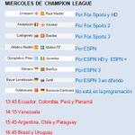 """""""@goalchannel: MIERCOLES DE CHAMPIONS LEAGUE horarios de los 8 partidos para cada país y quienes los transmiten http://t.co/Wcv9nzMaa9"""""""
