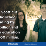 Rick Scott wouldnt take a do-over on his $1.3 billion education cut? Or the $300 million from colleges? #FLDebate http://t.co/je79ClRnBj