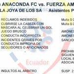 Sanción impuesta al Anaconda por hechos ocurridos la Fecha 7, no puede jugar su próximo partido de local en Orellana http://t.co/FblgHkrXTN