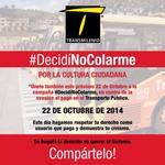 Por más inconformes q estemos con el servicio de @TransMilenio NO podemos promover un delito. Apoyo #DecidiNoColarme http://t.co/bkp8MhtAf2