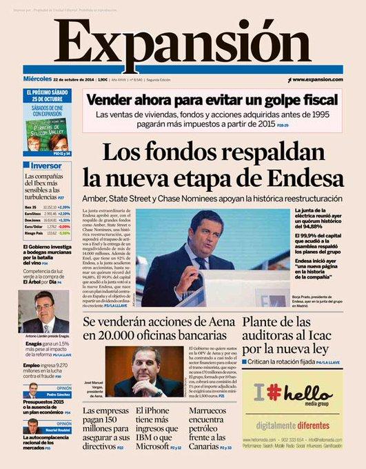 RT @expansioncom: #PortadaExpansión Los grandes fondos respaldan la creación de la nueva Endesa. http://t.co/FdwA9gaJIx http://t.co/JDnPFEl…