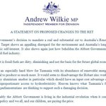Independent MP @WilkieMP statement on proposed changes to Renewable Energy Target #auspol http://t.co/tfE13PeYjr