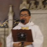 """Fr. Aloy officiating the nass at san beda church. : """"MVP said the 5 peat is over. Lets welcome the 6 peat..."""" http://t.co/XtHKsv6kBS"""
