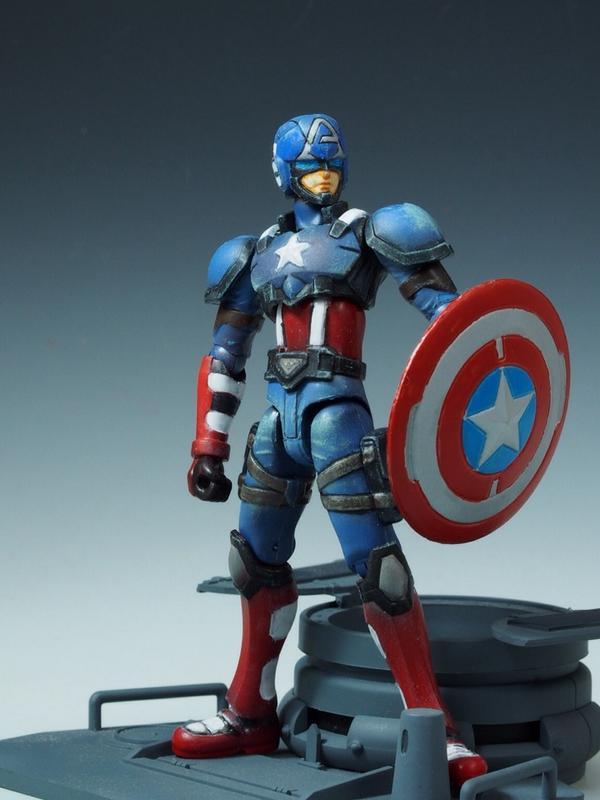 つうわけで、ハイパーモーションズ キャプテンアメリカの塗装は一旦終了。#dw_avengers