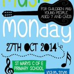 MUSICAL MONDAY next Monday 27/10 at #Southends St Marys CofE Primary! Bring your instruments! http://t.co/LZ8ztYAwDd