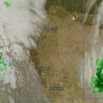 Rain in BC, rain in Saskatchewan. In the middle, Alberta is clear. Radar/satellite image at 6:43 am. #yyc #Calgary http://t.co/Jn7wQMXz5c