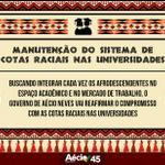 O governo de @AecioNeves vai reafirmar o compromisso com as cotas raciais nas universidades. #Aecio45Presidente http://t.co/cuIiezHG0y