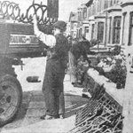 Removing railings on Warbreck Drive, Blackpool, circa 1942. #Blackpool http://t.co/7IaRir3j6V