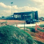 University of Central Oklahoma boathouse well under way on the Oklahoma River. #OKC http://t.co/4veRbr3RWx