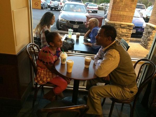 This guy took a picture of a man and daughter at a coffee shop to show them what they would look like in 10 years http://t.co/W5TVhQLhAe