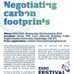 RT @DrChrisFoulds: Free #esrcfestival event on Negotiating carbon footprints - RT @cisl_cambridge @CambCleantech @camideasfest ? http://t.co/U9Z25xIvvs