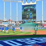 RT @MLB: Getting the field ready for Game 2. #WorldSeries http://t.co/pJfm6P0nBP