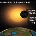 A partial #Solar #Eclipse will occur Thursday evening around 6 p.m. EDT. Moon will block 25% of the sun. http://t.co/qsacvbYxNc