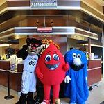 Party Animals..Bearcat, Buddy the Blood Drop and The Blue Blob. #BearcatsBirthday http://t.co/T6JcuvzE3z
